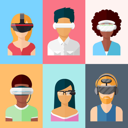 Flat vector head-mounted displays icon set. Virtual and augmented reality gadgets Vectores