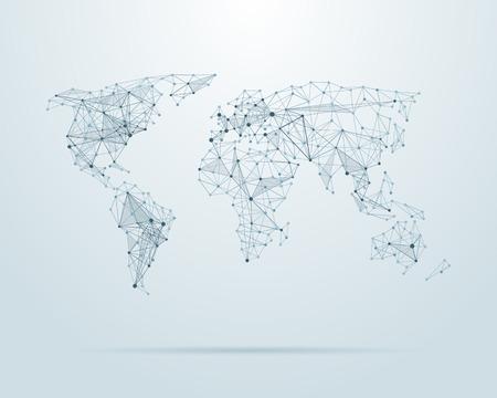 alrededor del mundo: Vector baja poli ilustración mapa del mundo Vectores