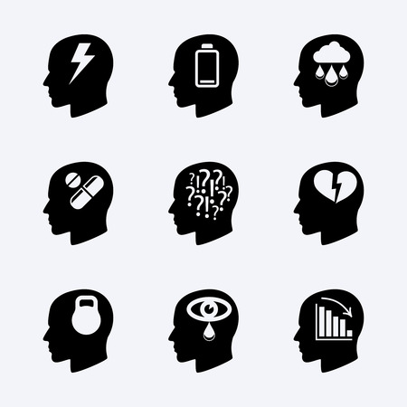 mental work: Stress and depression vector icon set