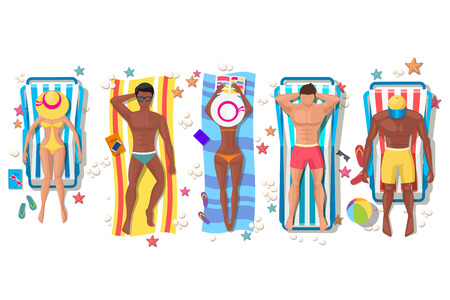 young girl bikini: Summer beach people on sun lounger icons Illustration