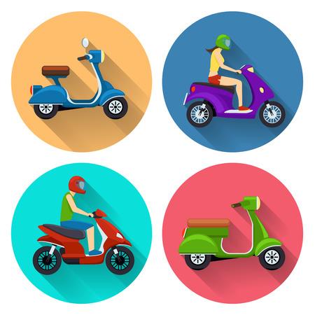 casco de moto: Iconos planos de transporte Scooter