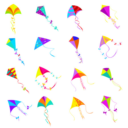 flying kite: Kite icons set