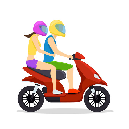 motorcycle: Young man and woman couple riding on scooter