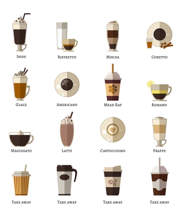 capuchino: Tipos de café vector iconos planos establecidos