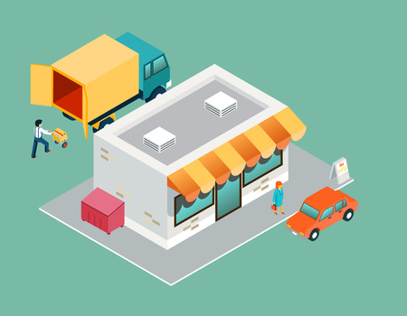 Shop and delivery isometric 3d top side view
