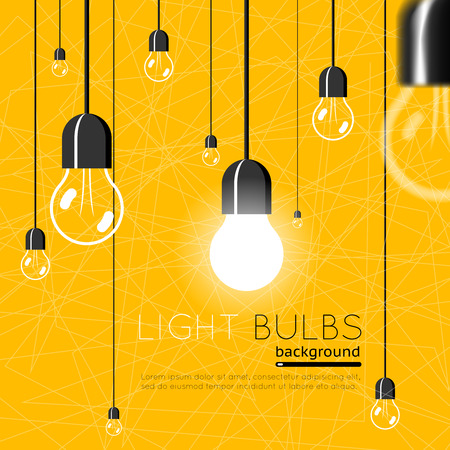 bright light: Light bulbs background. Idea concept
