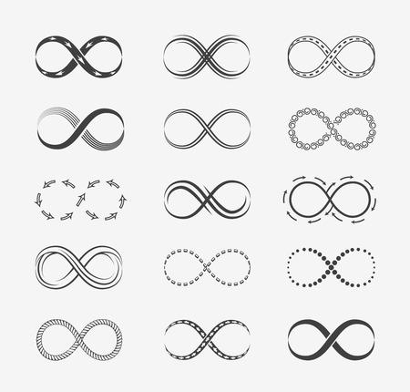 signo infinito: Infinity iconos de línea vectorial