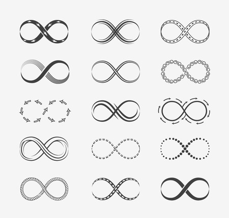 Infinity vector lijn iconen Stock Illustratie