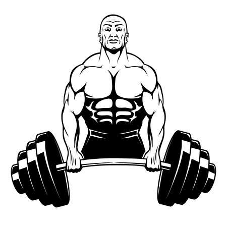muscular men: Vector muscle man bodybuilder Illustration