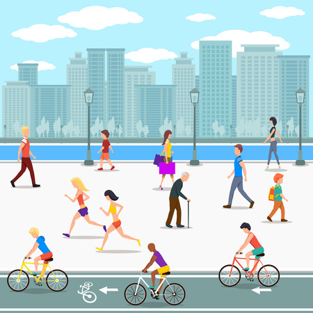 life styles: Group of people promenade on city river street. Flat illustration