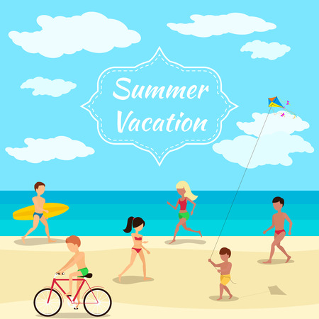 flying kite: Summer vacation background. People on beach party