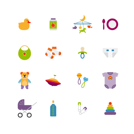 Cute color baby icons Vector