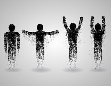 corpo umano: Set uomo triangolare Vettoriali