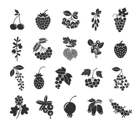 Berries silhouettes icons Vettoriali