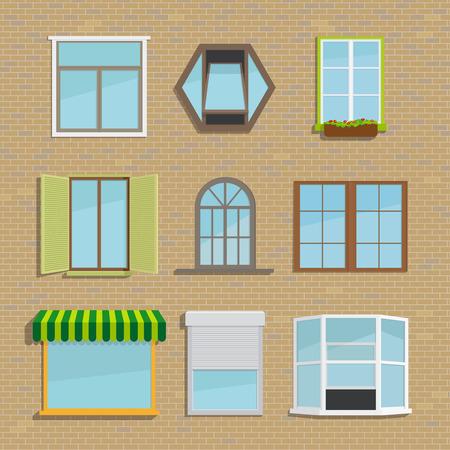 round window: Set of icons different types windows