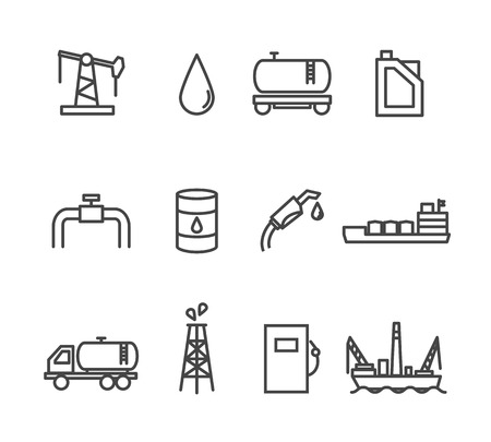 refinería de petróleo: Conjunto de petróleo y gasolina icono industria línea Vectores