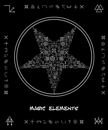 pentagram: Five-pointed star of magical elements Illustration
