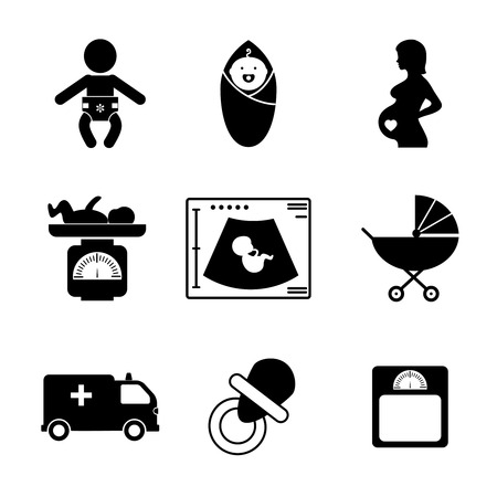 black pregnant woman: Pregnancy and birth icons Illustration