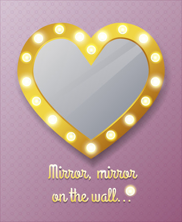 Mirror in shape of heart on wall Illustration