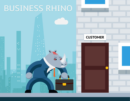 angry businessman: Business rhino. Angry businessman
