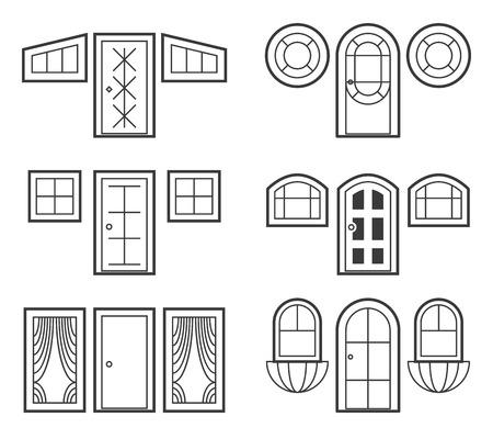 windows: Window and door icons set