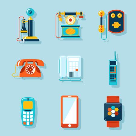 vintage telephone: Flat phone icons Illustration