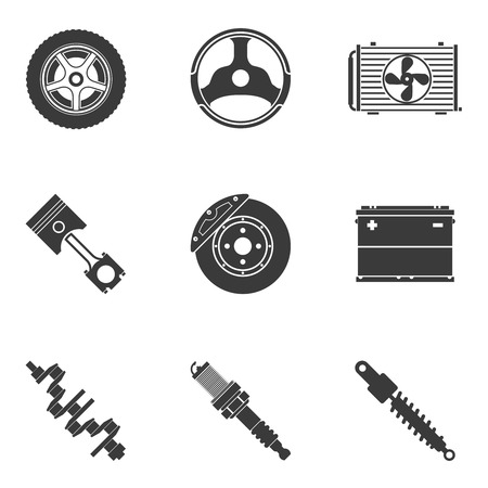 mechanical radiator: Vector set of auto spare parts