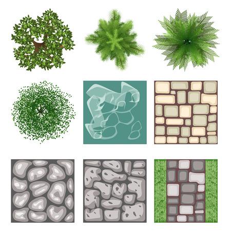 景観デザイン トップ ビュー ベクトル要素  イラスト・ベクター素材