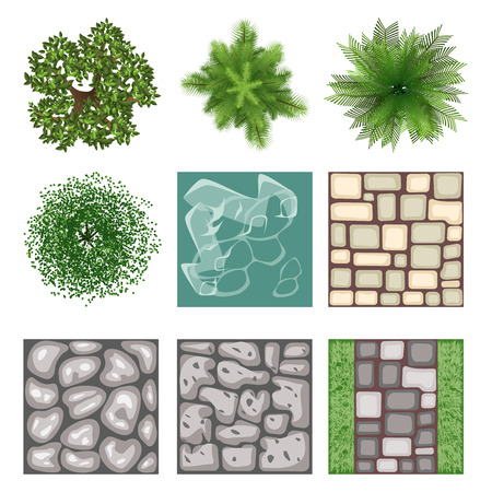 arbre vue dessus: Design de paysage vue de dessus éléments vectoriels Illustration