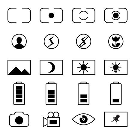 Vector icon set of camera viewfinder display