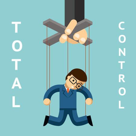dictator: Total control. Businessman puppet