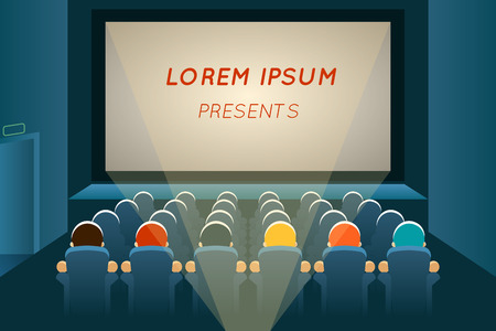 cine: La gente que mira la pel�cula en el cine Vectores