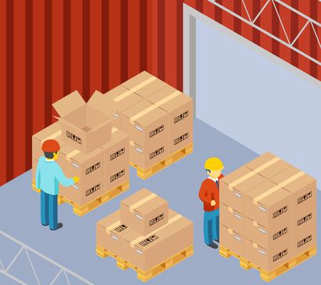 cajas de carton: Almacén con cajas de cartón en paletas
