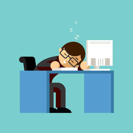 lazy: Businessman sleeping on his office desk top Illustration