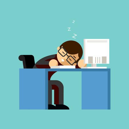 perezoso: El hombre de negocios que duerme en su escritorio de oficina
