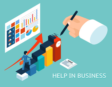 ayudando: Mentor de negocios ayuda pareja. Isométrico 3d ilustración vectorial