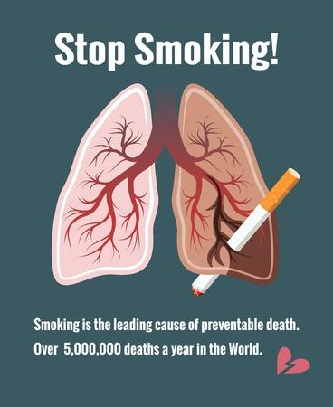 肺と喫煙、禁煙します。  イラスト・ベクター素材