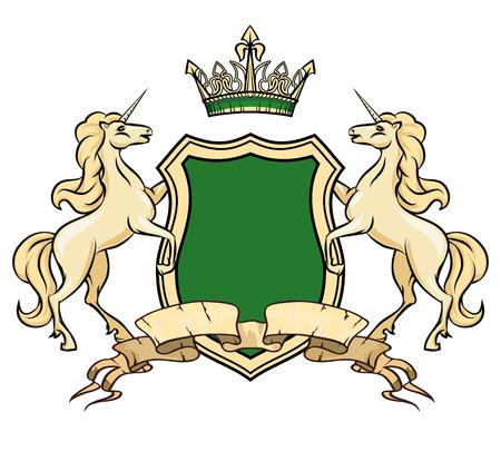 紋章付き外衣のロゴのテンプレート。王冠と盾を持ったユニコーン