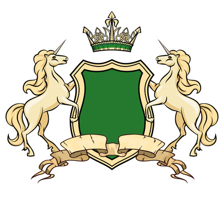 rampant: Coat of arms logo template. Unicorns with shield and crown