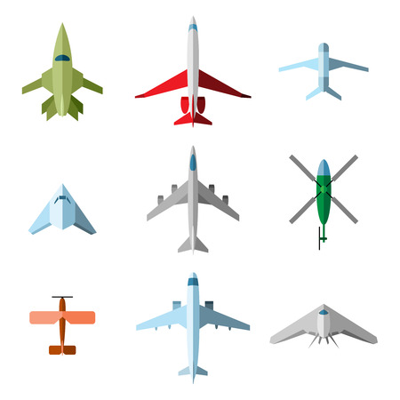military aircraft: Set of vector flat airplane