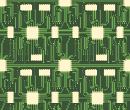 electronic circuit: Seamless microchip industrial electronic circuit vector pattern