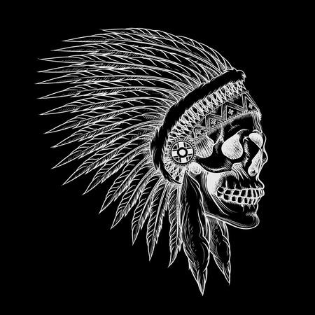 capo indiano: Cranio di vettore di capo indiano in mano stile di disegno