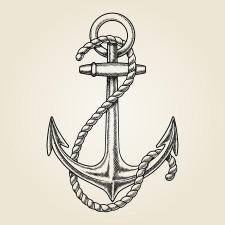 Vector hand drawn nautical anchor  イラスト・ベクター素材
