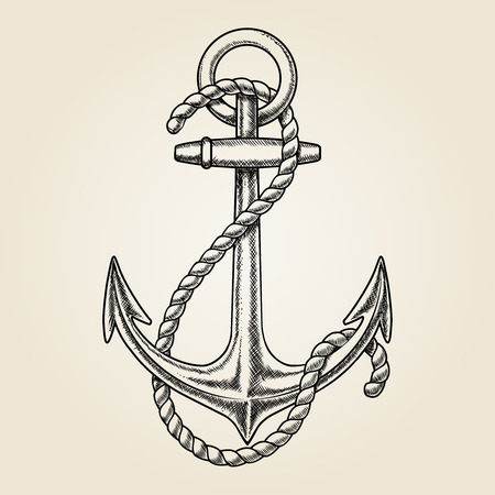 Vector hand drawn nautical anchor Stock Illustratie