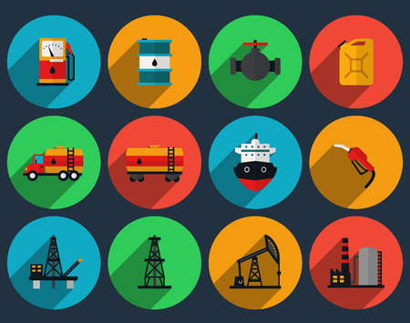 oil and gas industry: Oil production set vector