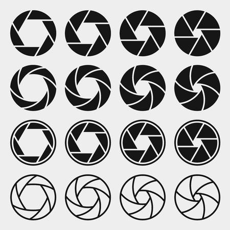 Ikony migawki aparatu Ilustracje wektorowe