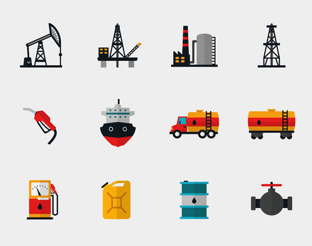 transporte: Producci�n de gasolina, refinaci�n de petr�leo y transporte de petr�leo iconos planos Vectores