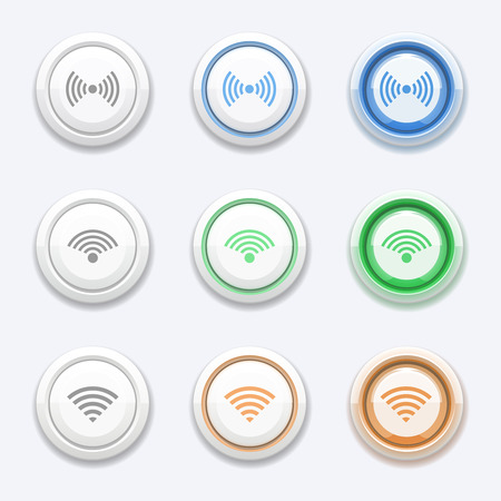 wireles: Vector button with wifi or wireless icon