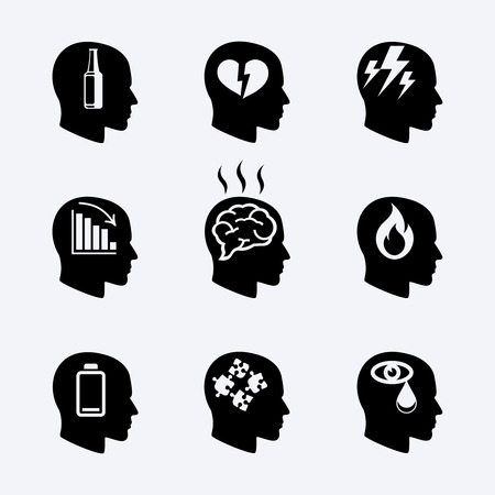 Depression, stress concept or mental health icons Stock Vector - 40787300