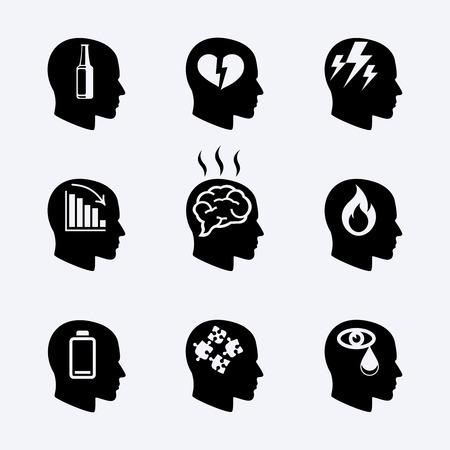 cerebro blanco y negro: La depresión, el concepto de estrés o iconos de salud mental